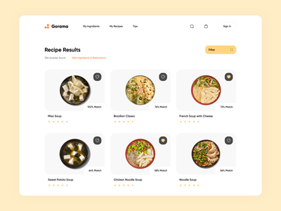 Gorama – Recipe Finder delivery shop recipe ecommerce store food app food web design website web interface ux ui minimalistic clean