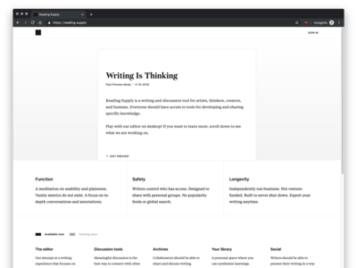 Reading Supply — Landing Page