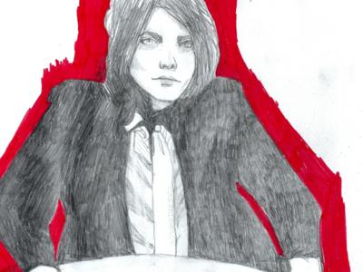 Eff you monochrome red pop art portrait emotional