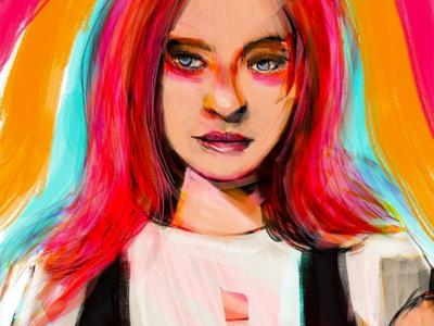 Rebel rebel pop art rebel emo pink hair portrait