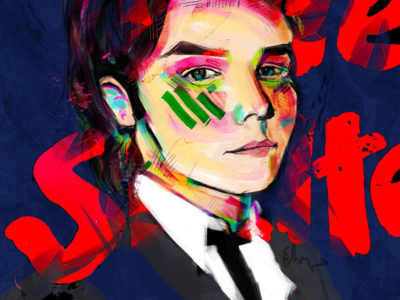 Helter skelter dark macabre portrait art design serial killer charles manson painting digital