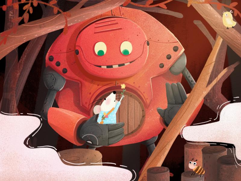 First encounter 机器人 动物 森林 插图