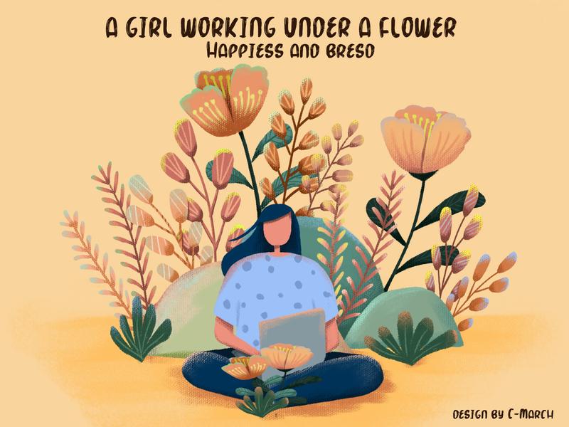 A girl working under a flower