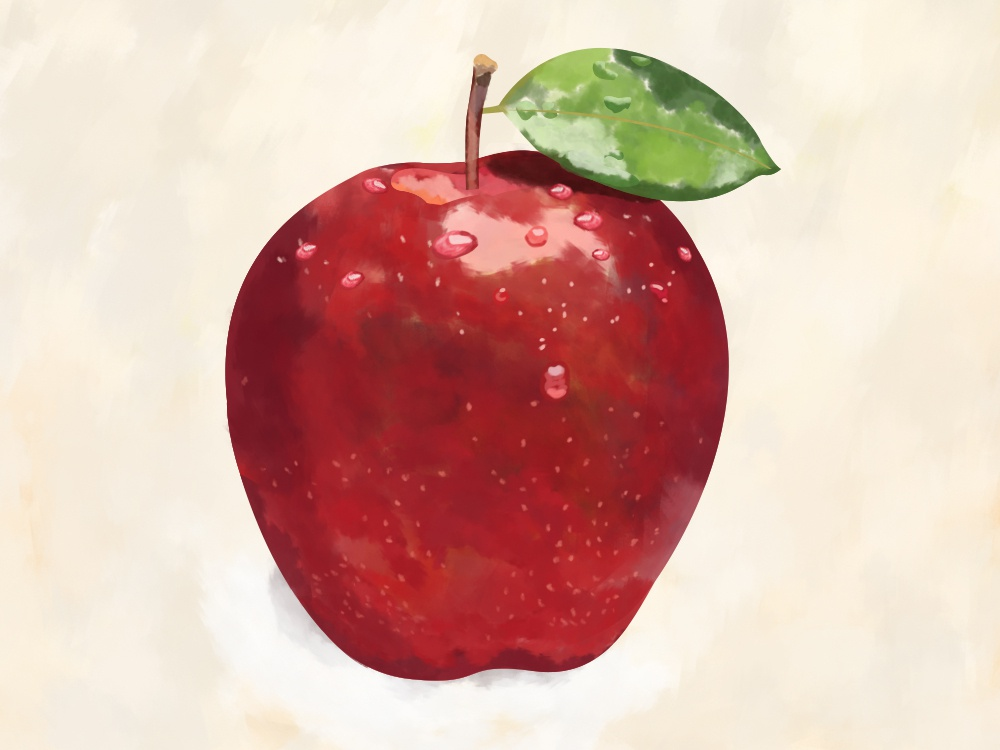 Apple waterdrop green red brushes photoshop digital painting digitalart apple