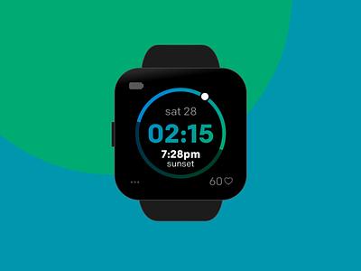 Solar Digital clock face for Fitbit Versa smartwatch watch visual design ui design app apple watch clock clockface design fitbit versa smartwatch fitbit