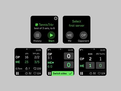 Tennis score tracking smartwatch app app tennis ui design smartwatch fitbit versa fitbit