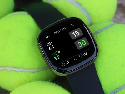 TennisTrkr app for Fitbit Versa 3 and Fitbit Sense tennis ui design smartwatch fitbit app