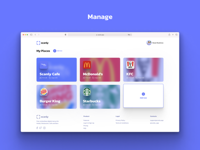 Scanly.app - Free contactless digital menus management covid restaurant cafe ux branding design qrcode menu qr scanly app ui web