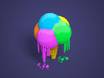 Voxcream summer illustration pixel 3d isometric voxel cream ice