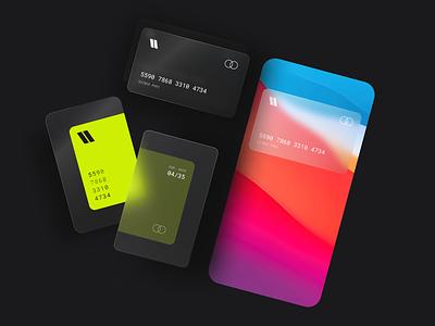 Credit Card Design mac glow branding illustration interaction design trending freelancer bank dark ui dark visual art visual design ux debit card creditcard cards ui card glass glassy