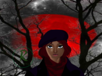 Grey Forest black cloud moon redmoon sky skies grey girl forest