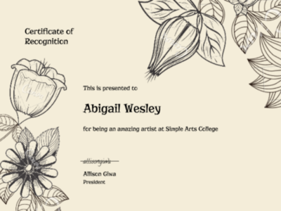 Art School Certificate