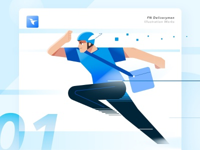 Delivery guy running at work web ux ui working running run illustration design art app courier delivery guy delivery men delivery