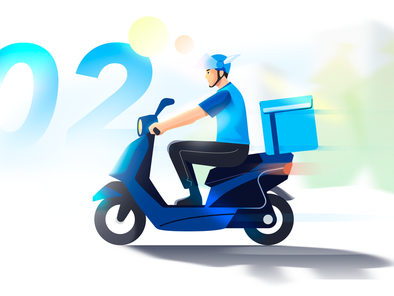 Delivery guy riding on a motorbike service daytime outdoor deliver character boy guy food riding illustration design motorbike motor deliverymen delivery