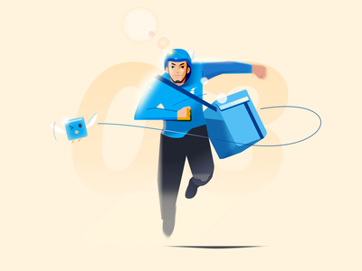 Delivery guy running at work afternoon daytime outdoor sunshine run running illustration design helmet guy deliver food deliveryman