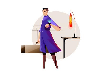 A musician seeing the time artist musician light tech watch illustration character