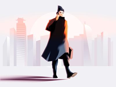 Modern employee walking man clerk officer employee illustration