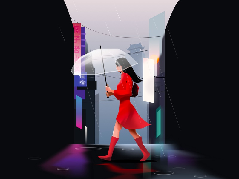 Rainy day walking red dress illustration raining woman