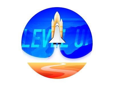 Level Up heading rise rise up upwards rocket level up