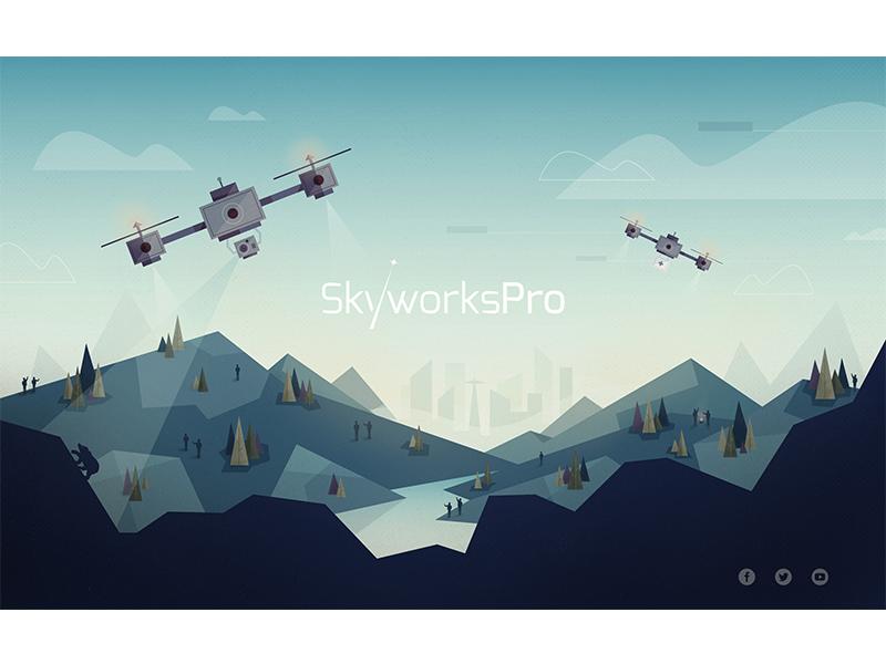 Skyworks drone mountain landscape city tree geometric low poly gradient website header