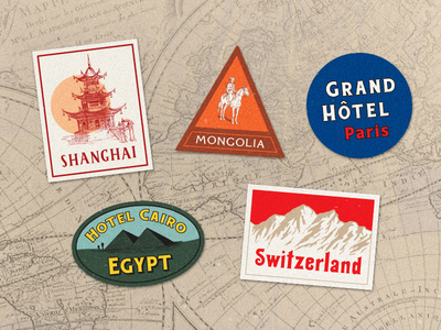 Travel Stickers texture cards collage map logo tag badge travel vintage sticker