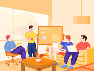 Illustration Meeting sofa windows mac meeting room light people plant meeting work icon illustration design