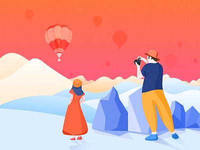 Landscape stone girl balloon photography photo icon illustration design