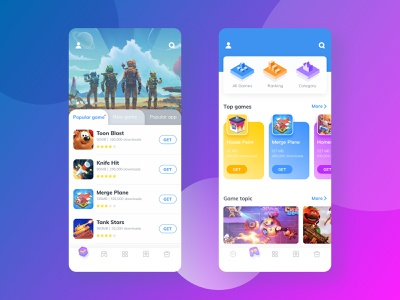 Game Center-One mobile game app android ios logo ux ui icon illustration design