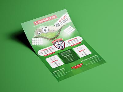 Delhi Super Cup flyer design print sports event digital flyer vector flat clean typography branding design