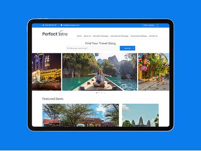 Perfect Yatra websites website design ux website ui web typography flat clean design branding