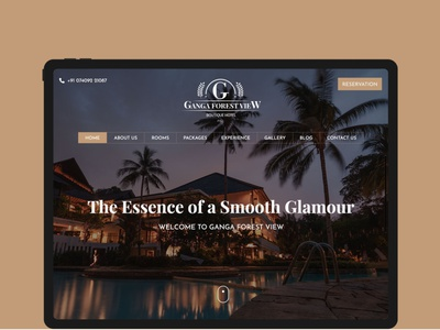 Hotel Ganga Forest View ux website ui minimal web typography clean flat design branding