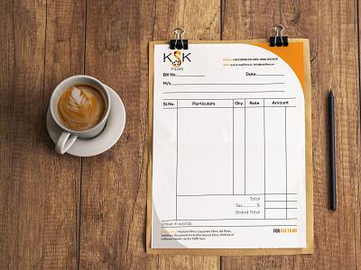 KSK Billbook Design invoice bill book vector typography clean flat design branding