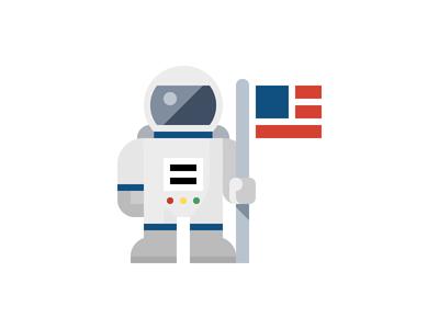 Astronaut (Flat) space exploration space travel nasa space suit space man astronaut
