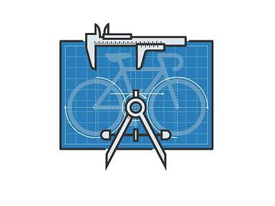 Bike Blueprint caliper compass drafting blueprint bicycle bike
