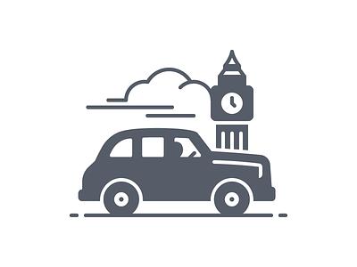 London Black Cab - Glyph big ben taxi black cab united kingdom london