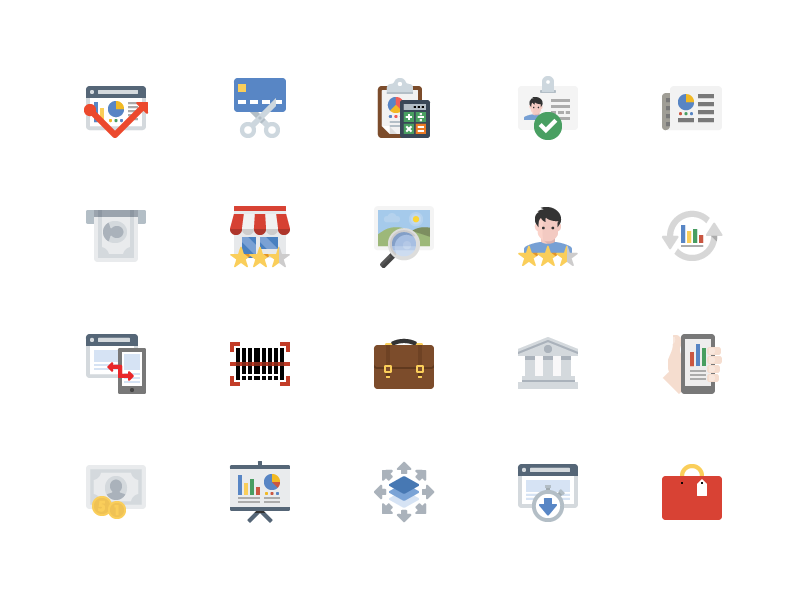 Business & Finance Icons flat icons e-commerce finance business seo