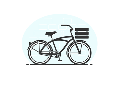 Whitewalls negative space glyph cyclist basket pedals gear cruiser cycling bicycle bike
