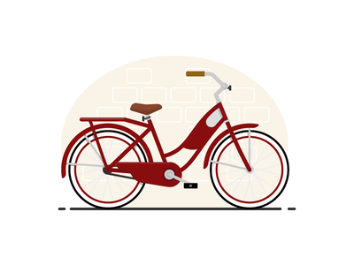 Whitewalls Too girls bike flat design negative space glyph cyclist basket pedals gear cruiser cycling bicycle bike