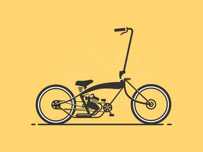 Chopper negative space glyph cyclist basket pedals gear cruiser cycling bicycle bike