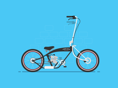 My Ride is Here bicycle flat blue wheel cyclist motorcycle cruiser chopper bike