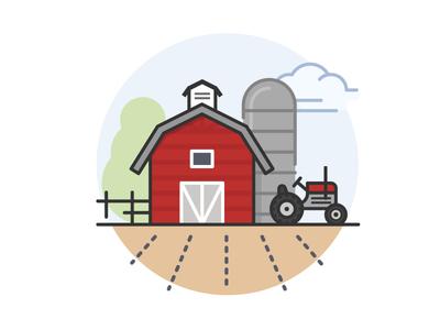Farm earth sky cloud barn tree plow field crops silo tractor farm