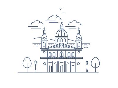 Catedral De Granada, Nicaragua panorama illustration outline catholic church granada nicaragua cathedral