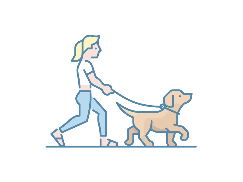 Walking The Dog girl blond walk puppy canine dog woman