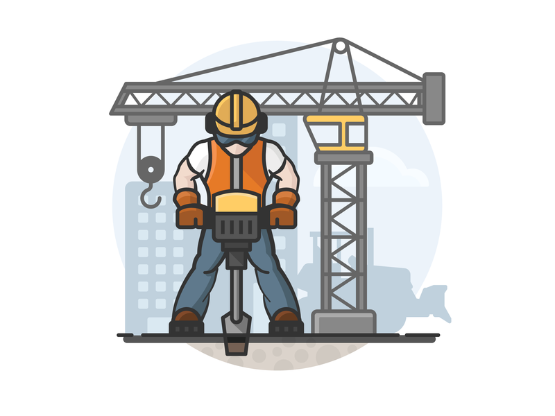 Construction Worker cityscape hardhat jackhammer bulldozer crane construction worker construction