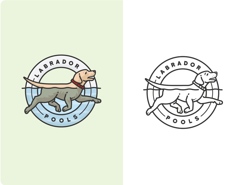 Labrador Pools Logo yellow lab logo labrador retriever puppy pet dog canine