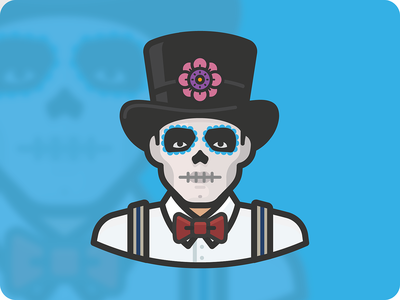 Día de Muertos (Day of the Dead) icon man illustration avatar face human person face paint tophat scary skull holiday mexico dead