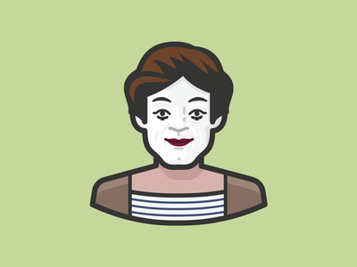 Marcel Marceau head people avatar icons avatar design icon design icon illustration vaudeville theater man human marcel marceau pantomime mime clown person face avatar