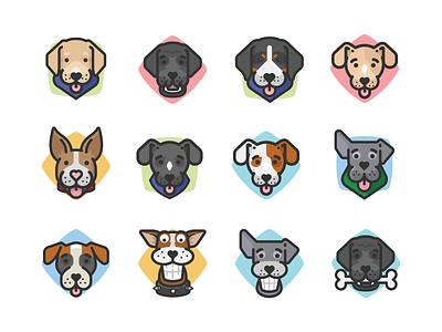 Dog Avatars icons doggy funny dogs cartoon dogs dog illustration avatar icons avatars dogs dog
