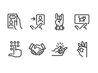 Hand Gestures iconset ux icons ui icons line icons outline icons fingers hands gestures