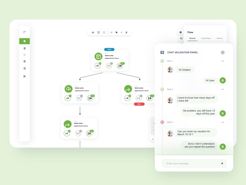 Flow map diagram with expandable chat details ui message toolbar canvas data flow gojs diagram flow chatbot chat design app